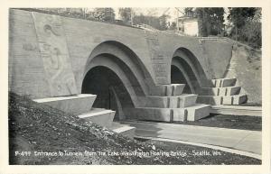 Seattle~Tunnels Under Lake Washington Floating Bridge~Real Photo Postcard 1940s