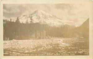 WA, Rainier National Park, Washington, RPPC, Mountain From Nisqually River