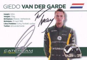 Giedo Van Der Garde Caterham F1 Grand Prix Hand Signed Photo