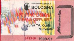 C0872 - Vecchio BIGLIETTO PARTITA CALCIO - 1990/1991: BOLOGNA - SPORTING Lisbon
