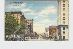 PPC POSTCARD NC NORTH CAROLINA RALEIGH FAYETTEVILLE ST LOOKING TOWARD STATE CAPI