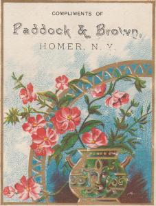 Paddock & Brown Hardware Store - Trade Card, Homer NY, New York