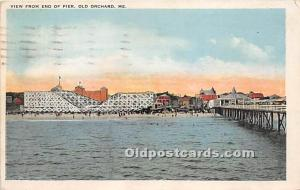 View from End of Pier Old Orchard, Maine, ME, USA 1928 light postal marking o...