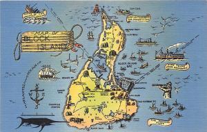 Block Island RI Map Linen Postcard