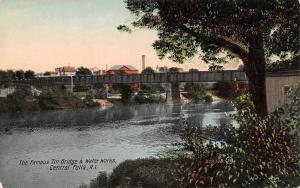 Central Falls Rhode Island~Tin Bridge & Water Works~Skyline~1908 Postcard