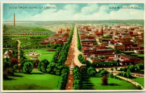 c1900s Washington DC Postcard Bird's-Eye Panorama View From Dome of Capitol