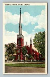 Christian Church Red Brick Trees Vintage Augusta Georgia Postcard
