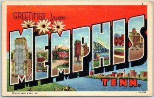 MEMPHIS Tennessee Large Letter Postcard Curteich Linen 9A-H106 c1940s Unused