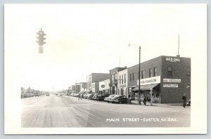 Custer SD~Red Owl~Ben Franklin~Restwell Court~Traffic Light~No U Turn~1940s RPPC