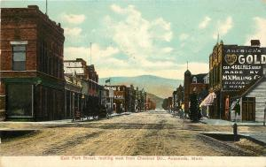 Vintage Postcard East Park Looking West from Chestnut Street Anaconda Montana MT