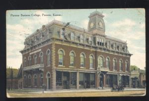 PARSONS KANSAS PARSONS BUSINESS COLLEGE DOWNTOWN VINTAGE POSTCARD 1910