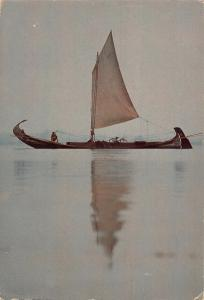 Portugal Aveiro Seaweed Gathering Boat Postcard