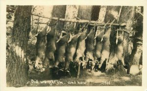 Hunting Trip Numerous Dead Deer 1940s #28H Postcard RPPC real photo 20-1409