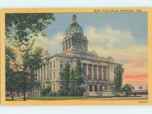 Unused Linen COURTHOUSE SCENE Manitowoc Wisconsin WI d2600