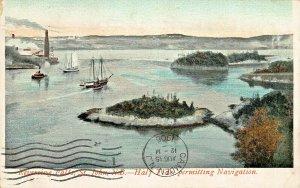 ST JOHN N.B CANADA~REVERSING FALLS-HALF TIDE PERMITTING NAVIGATION 1906 POSTCARD