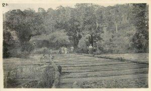 Belgian Congo real photo colonial family wooden bridge