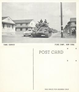 PINE CAMP N.Y. TANK CONVOY VINTAGE POSTCARD