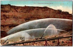 View of Hydraulic Mining Idaho Water Sprays Vintage Postcard S04
