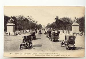 B&W, Vintage Cars, Champs-Elyees, Paris France, LL 353