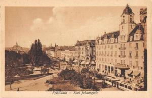 Kristiania Norway Karl Johansgade Exterior View Antique Postcard J80106
