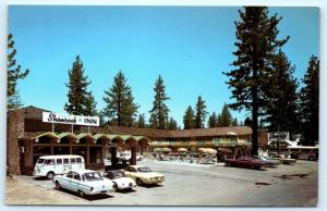 Postcard CA Lake Tahoe Shamrock Inn Hotel Vintage Cars D16
