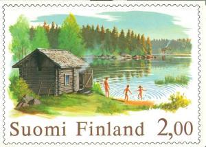 Suomi Finland, 1977 Sauna year stamp style, unused Postcard