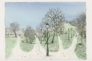 Regents Park Corner Primrose Hill Snow London Painting Postcard