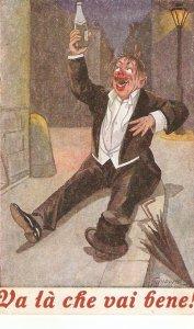 Drunk man toasting  Humorous old vintage Italian postcard