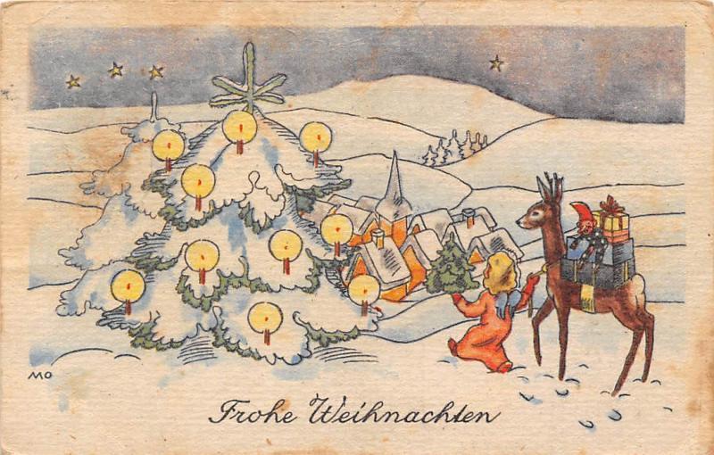 Weihnachten Mit Fantasy.Frohe Weihnachten Christmas Fantasy Tree Doe Fawn Deer Gifts
