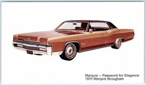 Car Advertising 1970 MERCURY MARQUIS Brougham Password for Excellence Postcard