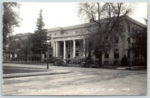 Forest City Iowa~Waldorf College Campus~Main Building~1930-40s Cars~RPPC