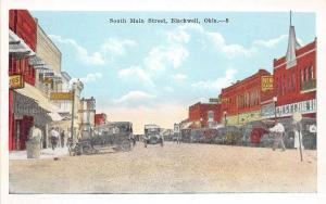 Oklahoma OK Postcard c1920 BLACKWELL South Main Street Stores Cars