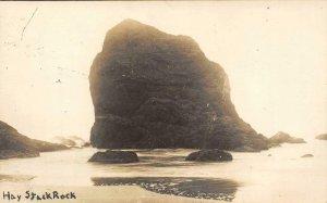 RPPC HAY STACK ROCK Cannon Beach, OR? Ilwaco, WA Cancel 1920 Vintage Postcard
