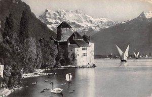 Lac Leman Chateau de Chillon Switzerland 1960