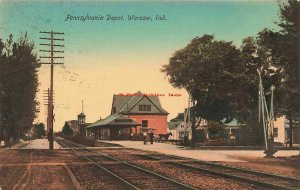 IN, Warsaw, Indiana, Pennsylvania Railroad Depot, Train Station, Hand Colored