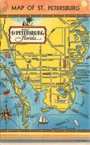 1940s Map Attractions St Petersburg Florida Hartman Eastman linen postcard 3998