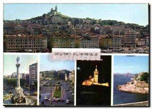 Panoramic Modern Postcard the old port Marseille Place Castellane quai des Be...