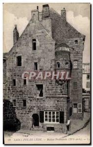 Old Postcard Saint Pol de Leon House Prebendale
