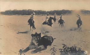 Eritrea lion hunting on horses real photo Postcard