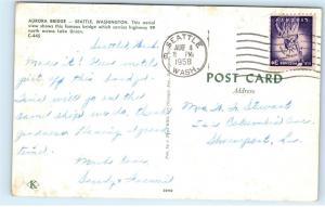 1958 Aurora Bridge Aerial City View Seattle Washington Vintage Postcard B27