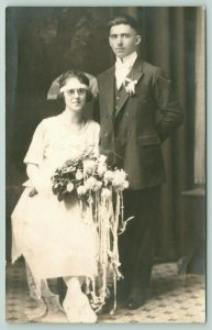 RPPC Peter & Kate Lowczyh or Lowczyk~Wedding Photo~Poland, Czech Republic c1920