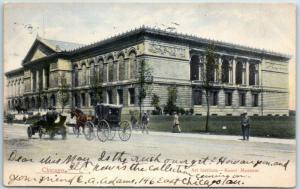 Chicago, Illinois Postcard ART INSTITUTE Kunst Museum Street View 1906 Cancel