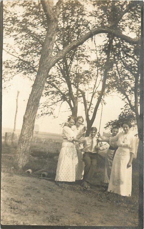 Sepia RPPC Laughing Ladies Surround,Hold Dapper Man on Tree Swing~c1913 Postcard