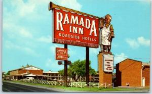 Amarillo Texas ROUTE 66 Postcard RAMADA INN Motel Highway 66 Roadside c1960s