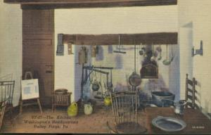 Valley Forge PA Washington's Headquarters The Kitchen Vintage Linen Postcard