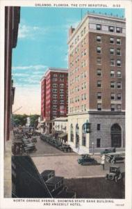 Florida Orlando North Orange Avenue With State Bank Building & Angebilt Hotel...