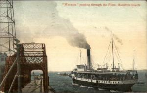 Hamilton Beach ON Steamer Ship Macassa Thru Piers c1910 Postcard