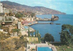 Portugal Postcard Madeira Funchal Sheraton & Savoy hotels scenic bay image