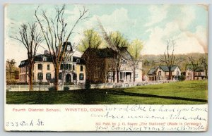 Winsted Connecticut~Fourth District School~Houses Behind~1910 Postcard