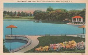 Syracuse NY, New York - Hiawatha Lake in Onondaga Park - pm 1958 - Linen
